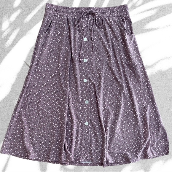 Lularoe Ditzy Floral Button Tie Waist MIDI Skirt
